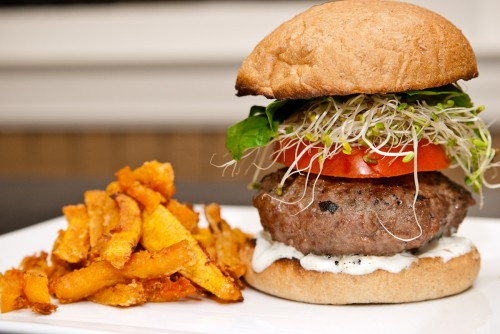 Minted Chevre Stuffed Gyro Burger and Parmesan Butternut Squash Fries